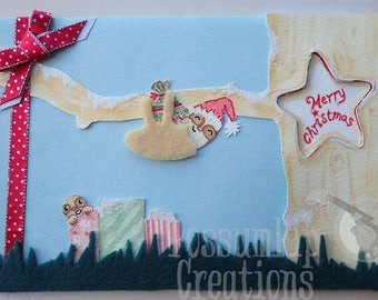 Handmade/Painted Fluffy Sloth 'Santa Sloth Delivery' Christmas Peep-Hole Card