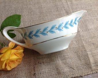 Johnson Bros Pareek Bermuda Gravy Boat Turquoise Blue Laurel Pattern with Gold Trim