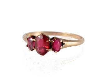 antique victorian three stone ring with garnet doublets, c. 1900