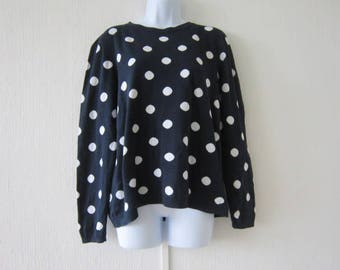 80's Laura Ashley Blue and White Spotted Sweater