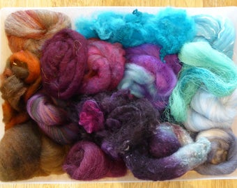 Hope Jacare - Mixed wool pack- custom blended top -  110g hand dyed top and fleece  - MWP26