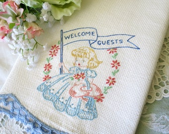 Embroidered Vintage Tea Towel, Hand Towel, Welcome Guests, Blue Coral Yellow, Cotton Huck Fabric, Vintage Linens by TheSweetBasilShoppe
