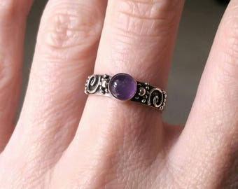 Vintage Sterling Silver Amethyst Ring Size 6.5, Filigree Gemstone Ring, Handmade 925 Sterling Silver Ring, Amethyst Cabochon Semi Precious