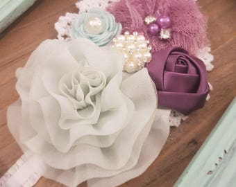 Shabby Chic Lace Flower Mint & Grape Pearl Ruffle Headband, Flower Baby Headband, Baby Headband, Flower Girl Headband, Rosette Headband.