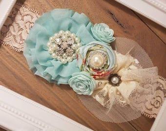 Toddler Headband, Baby Girl Headband, Baby Blue Vintage Headband, Baby Girls Headbands, Flower Girl Dress Sash, Baby Girl Headbands, Sash
