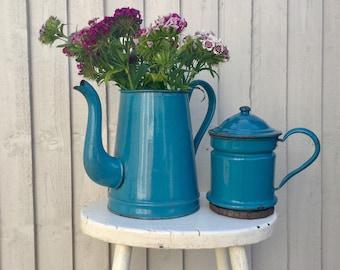 Vintage French Coffee Pot - French Enamelware - Vintage Enamel Coffee Pot - Rustic Kitchen Decor - Vase - French Kitchen