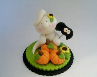 Ghost - Pumpkins - Sunflowers - Bat - Polymer Clay - Halloween - Figurine