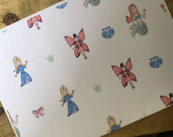 Fairy, mermaid, princess, wrapping paper, gift wrap, for little girls