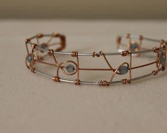 Swirl Blue Crystals with Aluminum & Copper Wire Cuff