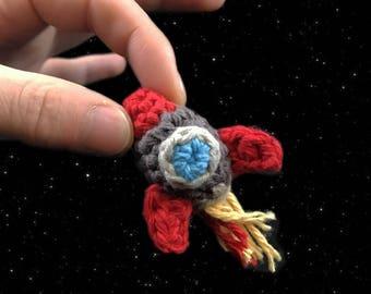 Crocheted Tiny Space Ship Rocket Amigurumi Kawaii Keychain Miniature