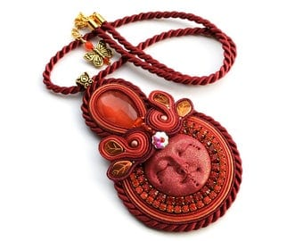 Unusual soutache pendant very bold, eyecatching and shinny - hand made jewelry - ORSOLA and PAOLA