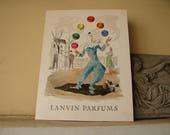 antique French advertisement,perfume publication, Lanvin parfums, juggling clown