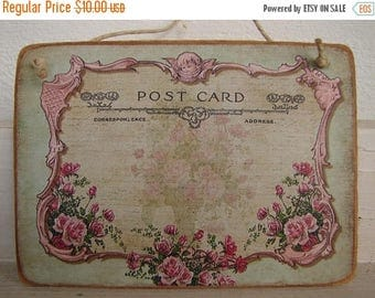3 day SUMMER SALE 15% OFF pink roses & cherub, vintage postcard image on natural wooden tag, French home accents