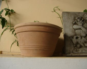 vintage Greek, heavy clay, small terracotta pot, old,un-used garden plant pot-shabby chic