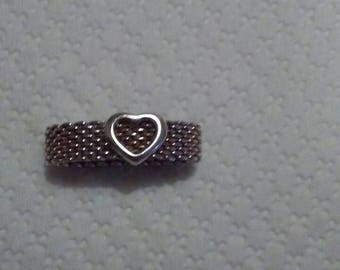Authentic Tiffany sterling silver heart mesh Somerset ring