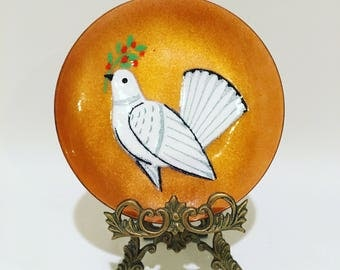 Annemarie Davidson Enamel Plate Dove with Holly