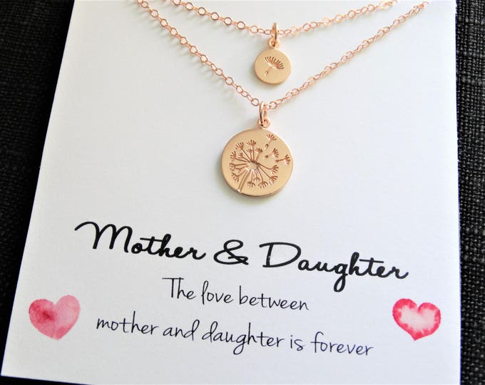 Featured listing image: Dandelion Necklace Mother Daughter Necklace Make a Wish Necklace Mother Daughter Gift Mommy and Me mother daughter gift Rose Gold Necklace