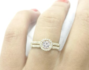 Unique Diamond Engagment Ring - Sharon - Engagement Ring 14K White Gold