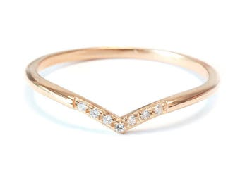 SOCIAL MEDIA Sale! Chevron V 7 Diamond Ring / Pave Diamonds / Diamond Wedding Band - Gold & Diamond Ring white / rose gold Ready to ship