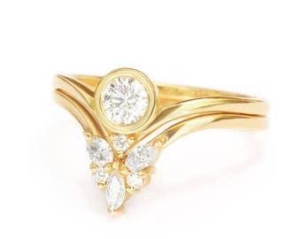 Round Diamond Engagement Ring & Marquise Side Band Set, Natural Diamond Rings Bridal Set, Bindi Ring + Cupid Wings Matching Band Gold Rings