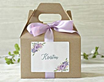 Purple Floral Bridesmaid Box / Bridal Party Name Gift Box / Medium Gable Box /  Bridesmaid Proposal / Bridal Party Box