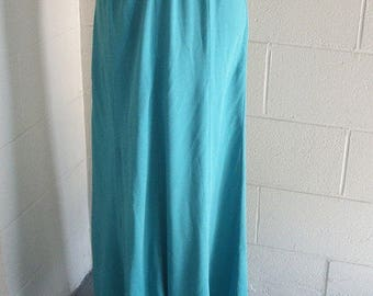 1970s turquoise maxi boho hippie festival high waist skirt/size small to medium