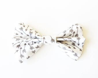 Arrow Bow Tie - White and Grey Arrow Fabric Bow Hair Clips or Bow Ties - dainty and Dapper -