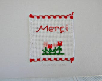 Embroidered made thank you card