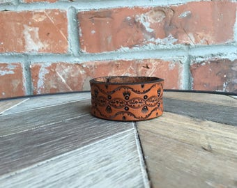 Leather cuff, boho, western, tooled leather
