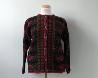 Vintage wool ski sweater cardigan, nordic scandanavian, winter fall, women's knitwear