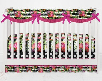 Crib Bedding Flowers, Stripes, and Polka Dots Nursery Hot Pink Ruffles 3 Tiered Waterfall Crib Skirt Rail Cover Baby Girl