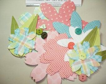 Pastel Fabric Art Flower Sticker Embellishments - 30 pcs