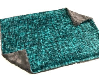 Deep Sea Teal Linen Baby Blanket Lovey, Baby Boy Minky Lovey, Gender Neutral Baby Blanket, Ready to Ship, Baby Shower Gift