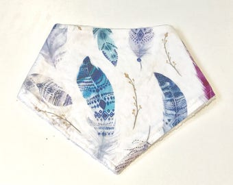 Purple and Blue Boho Feathers Baby Girl Bandana Bib, Baby Girl Bandana Bib, Baby Bib, Summer Bib, Purple Watercolor Feathers Baby Bib