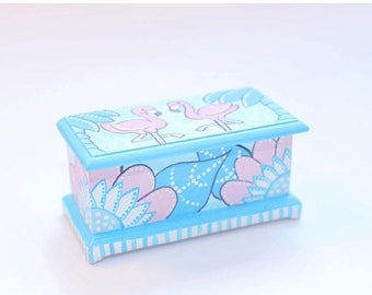 SPECIAL SALE FLAMINGO Art Deco Pink Aqua Blanket Chest 1:12 Dollhouse Miniature Furniture Hand-Painted