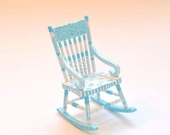 SPECIAL SALE WHIMSICAL Aqua Blue Rocking Chair 1:12 Dollhouse Miniature Furniture Hand-Painted Turquoise Blue
