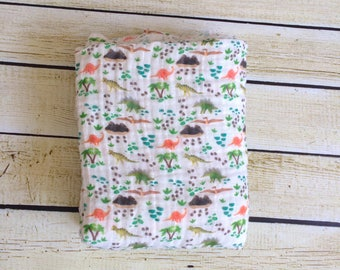 Organic Dino Days Muslin Swaddle Blanket. Newborn, Baby Photo Prop, Baby Shower Gift, Swaddling Blanket