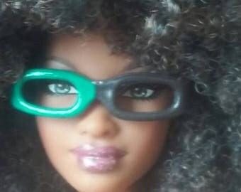 Teal/Green Painted Eye Glasses for Barbie or similar fashion doll