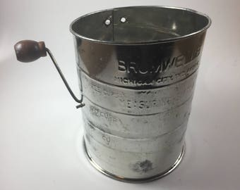 Bromwell's 3 Cup Measuring Flour Sifter; Vintage Baking Tool