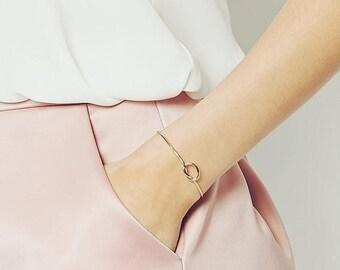 ON SALE Gold silver love Knot cuff bracelet