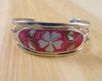 Sterling Silver and Mother of Pearl Floral Mosaic Cuff Bracelet / Mexican Silver Bracelet / Mother of Pearl Cuff