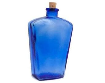 Vintage Blue Glass Bottle Cobalt Decanter Pebble Texture Corked CANADA 2 Inverted Trapezoid Shape Bud Vase Bath Salts Wedding