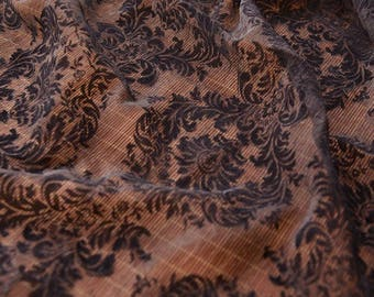 Chiffon Fabric, folding Fabric, Flower Print, Black and White Color For Bridal Dress Curtain- 1/2 yard QT1252