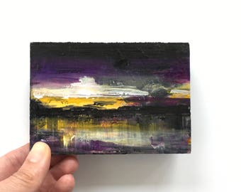 Sunset Landscape ~ Acrylic Painting Original Art on Wood Block Shelf Sitter