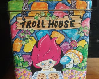 Vintage Troll House cookie tin