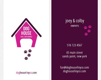 dog grooming business cards - full color both sides - FREE UPS ground shipping
