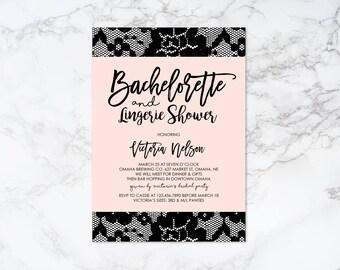 Printable Lace Lingerie Theme Bachelorette Invitation