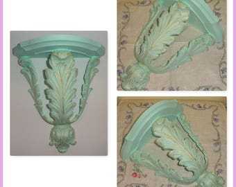 Upcycled Hand Painted HOMCO Elegant Green & Gold Leaf Leaves Decorative Shelf Wall Accessory Home Decor Accent