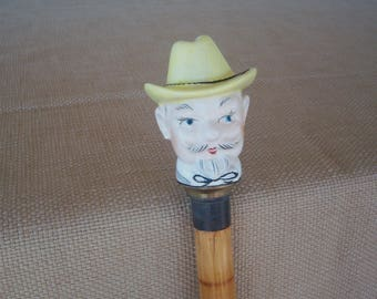 Vintage Carnival Cane, Barker Stick, Walking Cane, Bamboo Cane, Porcelain Head Col. Sanders, 1950's Made in Japan, Gift Item, Collectable