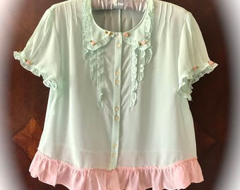 Darling Dear Garden Cottage Cropped Top Pale Sheer Green and Rustic Pink Roses and Ruffles
